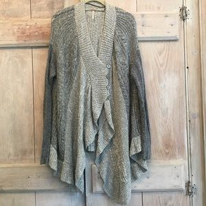 Free People Gray Cable Knit Cardigan Oversized